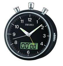Seiko Silent Round Black Bedside Lumibrite Snooz Analog Beep Alarm Clock QHE114K