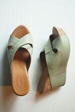 KORK EASE TRACY PLATFORM Sandals CRISSCROSS WEDGE SLIDES 9 Green Leather Shoes
