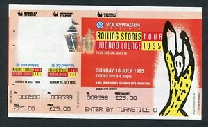 1995 Rolling Stones concert unused ticket Wembley UK Jagger Richards Voodoo 7/16