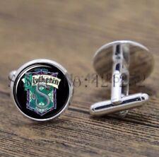 Cufflinks Glass Silver Slytherin Crest Harry Potter New & Sealed