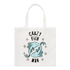 Crazy peces hombre estrellas Small Tote Bag-hombro animales graciosos