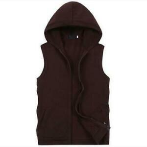 Men's Sport Casual Hoodie Sleeveless Vest Zip Waistcoat Cotton Tops Hooded Coats