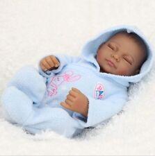 "11"" Handmade Real Looking Vinyl Silicone Newborn Black Baby Reborn Doll W/Cloth"