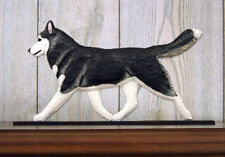 Siberian Husky Dog Figurine Sign Plaque Display Wall Decoration Black/White