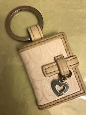 Coach Keychain Fob Picture Album Frame Signature White Leather Blue Heart