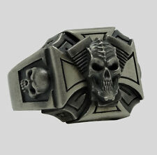 Biker Ring Skull Harley Sterling Silver .925 Davidson V Shape Engine by UNIQABLE