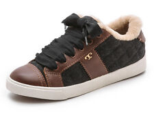 NEW TORY BURCH Oliver Logo Lace-up Shearling Lined Sneakers 10 M Charcoal/Almond