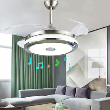 42''Music Player Invisible Bluetooth Ceiling Fan Light  LED Chandelier w/Remote