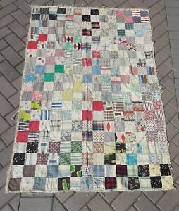 Vintage Feed Sack Patchwork Hand Quilted Quilt