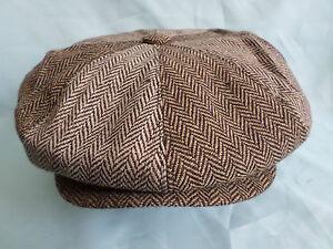 PEAKED NEWSBOY BAKER BOY 8-PANEL GATSBY CAP BROWN HERRINGBONE SIZE 59CM LARGE