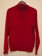 NEW Polo Ralph Lauren Men's Red 100% Cashmere Half Zip Pull Over Sweater S