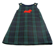 Cricket Kids Size 8 Reversible Green Plaid Navy Blue Jumper Dress w/ Dog patches