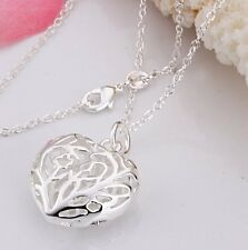 NEW Sterling Silver Pattern Heart Necklace