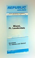 Republic Airlines Della Compagnia Aerea Timetable (tabella Orari) June 1, 1984