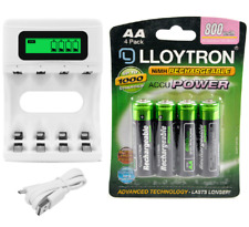 4 Slot AA/AAA LCD Display USB Charger & 4 x AA 800mAh Rechargeable Batteries