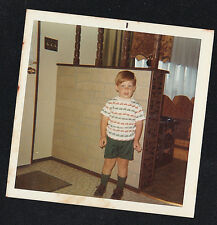 Vintage Photograph Adorable Little Boy in Shorts Standing in Retro Room