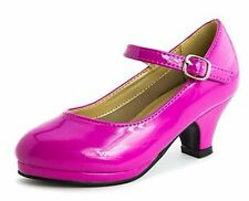 Girls Fuchsia Patent Leather Buckle Closure Med Height Platform Heel Shoes, 12M