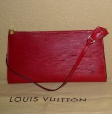 LOUIS VUITTON Red Epi Leather Pochette Accessories Handbag Clutch Wristlet Purse