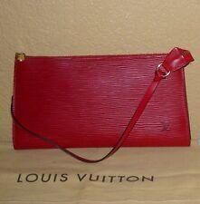 LOUIS VUITTON Red Epi Leather Pochette Accessories Handbag Clutch Wristlet Purse