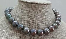 "HUGE 18""13-16mm south sea genuine gray green perfect round pearl necklace"