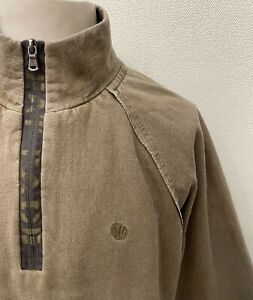Fat Face Brown Long Sleeved Zip Neck Cotton Blend Sweatshirt - XL