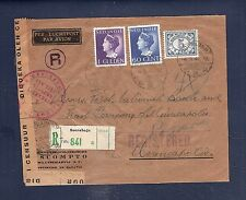 9 Netherlands Indies 1941 Censored registered airmail cover to USA Clipper