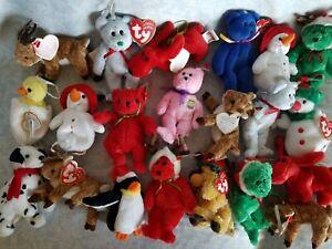 Lot of 21 Jingle Beanies, Basket Ty Beanie Babies, Rare, Retired Ornaments Mint