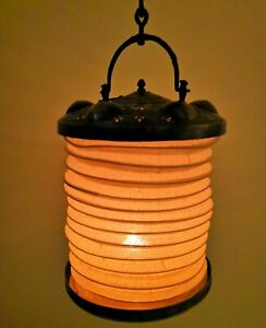 Antique Turkish Copper Canvas Candle Lanterns x2 Collapsible with Hooks