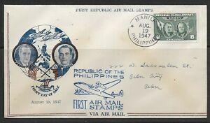 1947 Philippines FDC Quezon & Roosevelt Airmail issue #C64