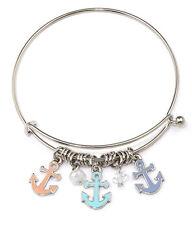 Nautical Ocean Theme Bracelet Three Anchor Charms Bead Wire Bangle Bracelet