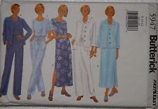 Butterick 5947 Sewing Pattern Misses' Jacket Dress Top Pants Sz 8 10 12 Uncut