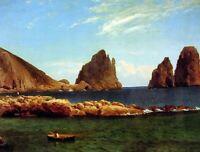 Albert Bierstadt Capri Landscape Fine Art Repro Print on Canvas Giclee Small