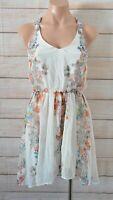 Bershka Fit flare Dress Size Small White Orange Blue Pink Floral Sleeveless