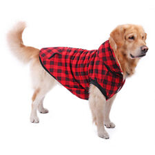 5XL Dog Plaid Shirt Coat Thickening Winter Warm Clothes Removable Hoodie Coats