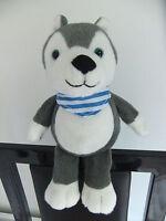KINDER FERRERO CHOCOLATE HUSKY PUPPY DOG GREY WHITE BLACK BLUE SOFT CUDDLY TOY