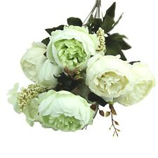 Artificial Bouquet 10 Head Peony Silk Flower Fake Leaf Home Wedding Party Decor White Green