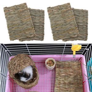 4x Natural Straw Mats for Rabbits Grass Mat Rabbit Hay Feeder Guinea Mat Toy