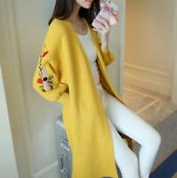 Women's New Loose Long Sleeve Knit Embroidery Sweater Cardigan Coat Outwear hai1