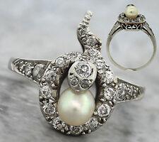 Ladies Antique Art Deco 1940s Estate Platinum Diamond Pearl Snake Ring