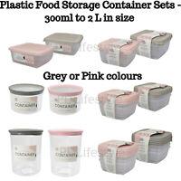 PLASTIC FOOD CONTAINER SETS FRIDGE FREEZER STORAGE TUBS & LIDS PINK GREY SET