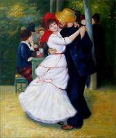 Pierre Renoir Dance at Bougival Repro, Hand Painted Oil Painting 20x24in