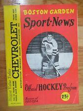 BOSTON BRUINS vs MONTREAL CANADIENS Nov 22 1953 Program SCHMIDT MAURICE RICHARD