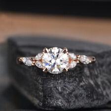 Real Moissanite Round 1.21 Ct VVS1 Engagement Wedding 10k Solid Rose Gold Ring