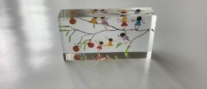 Unusual miniature  intaglio fairies on branches of a fruit tree dolls house