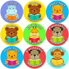 144 Lecture Animaux 30 mm Récompense Stickers for School Teachers, parents, Pépinière