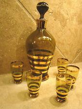 "DECANTER & 5 SHOT GLASSES BOHEMIAN ROMANIA 6 Piece Smoke Green GILT 10 1/4""  @H"