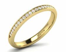 Pave Set Round Diamonds Half Eternity Wedding Ring in 18K Yellow Gold,Hallmarked