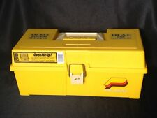 Vintage Plano Model 2100 Plastic Yellow Fishing Tackle Box Farm Advertising Dual
