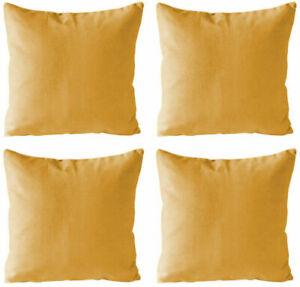 "Pack of 4 - Plain Mustard Yellow Cotton Linen Cushion Covers 18x18"" / 45x45cm"