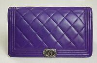 Authentic Chanel Purple Lamb Skin Le Boy Zipper Wallet Gunmetal HW